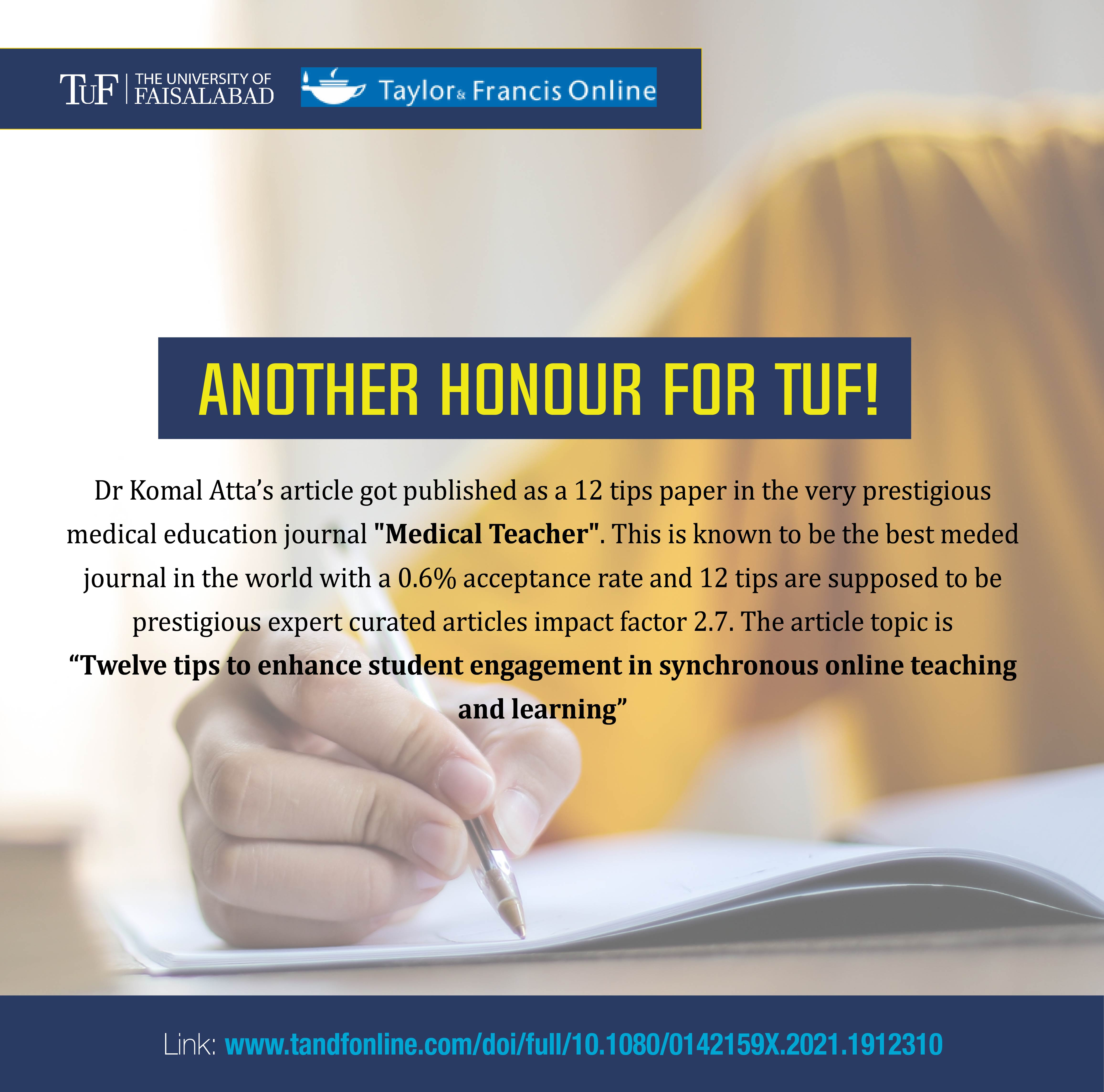 """Dr Komal's Article published as a 12 tips paper in the very prestigious medical education journal """"Medical Teacher""""."""